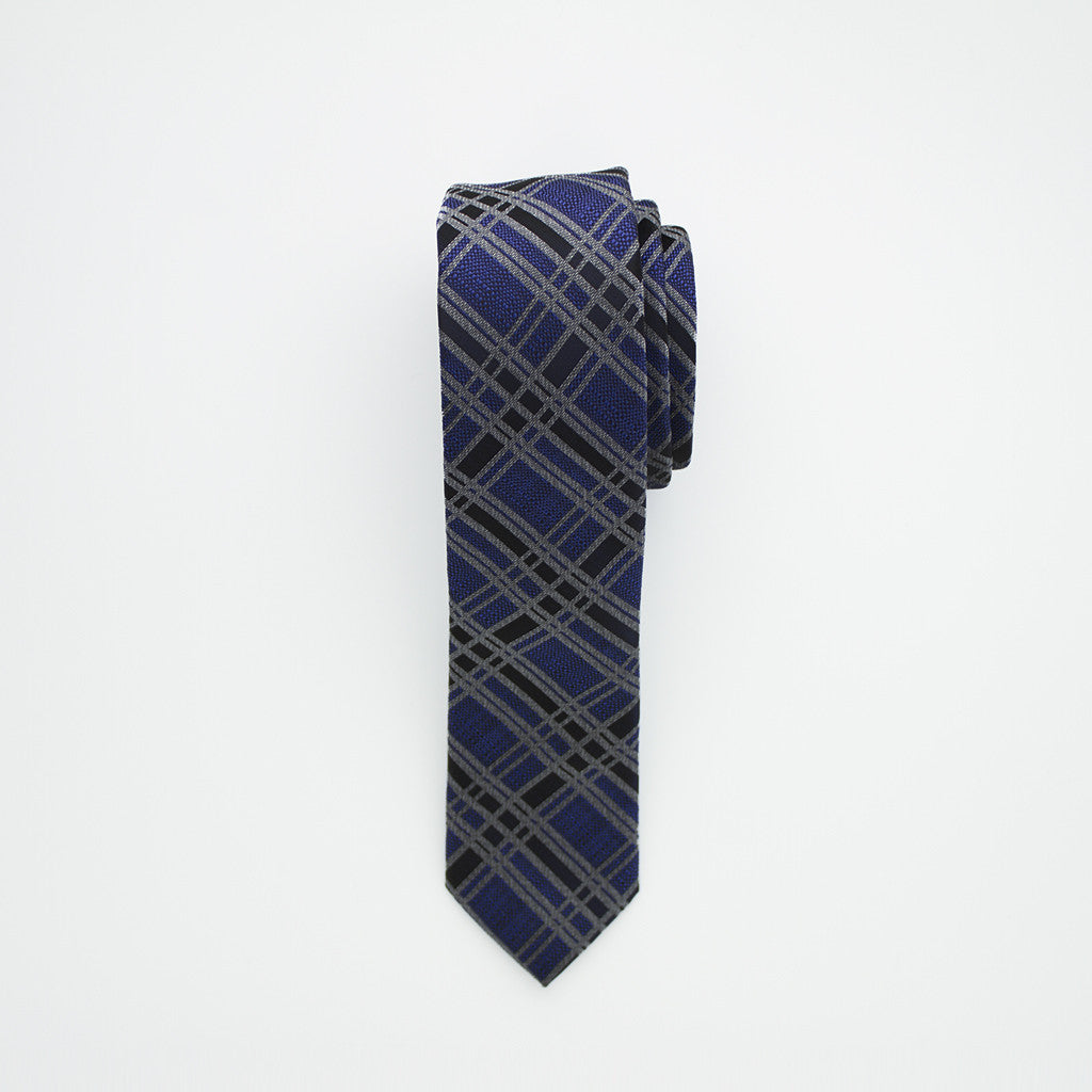 Royal and Black Plaid Long Tie