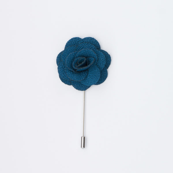 Teal Rosette Lapel Pin