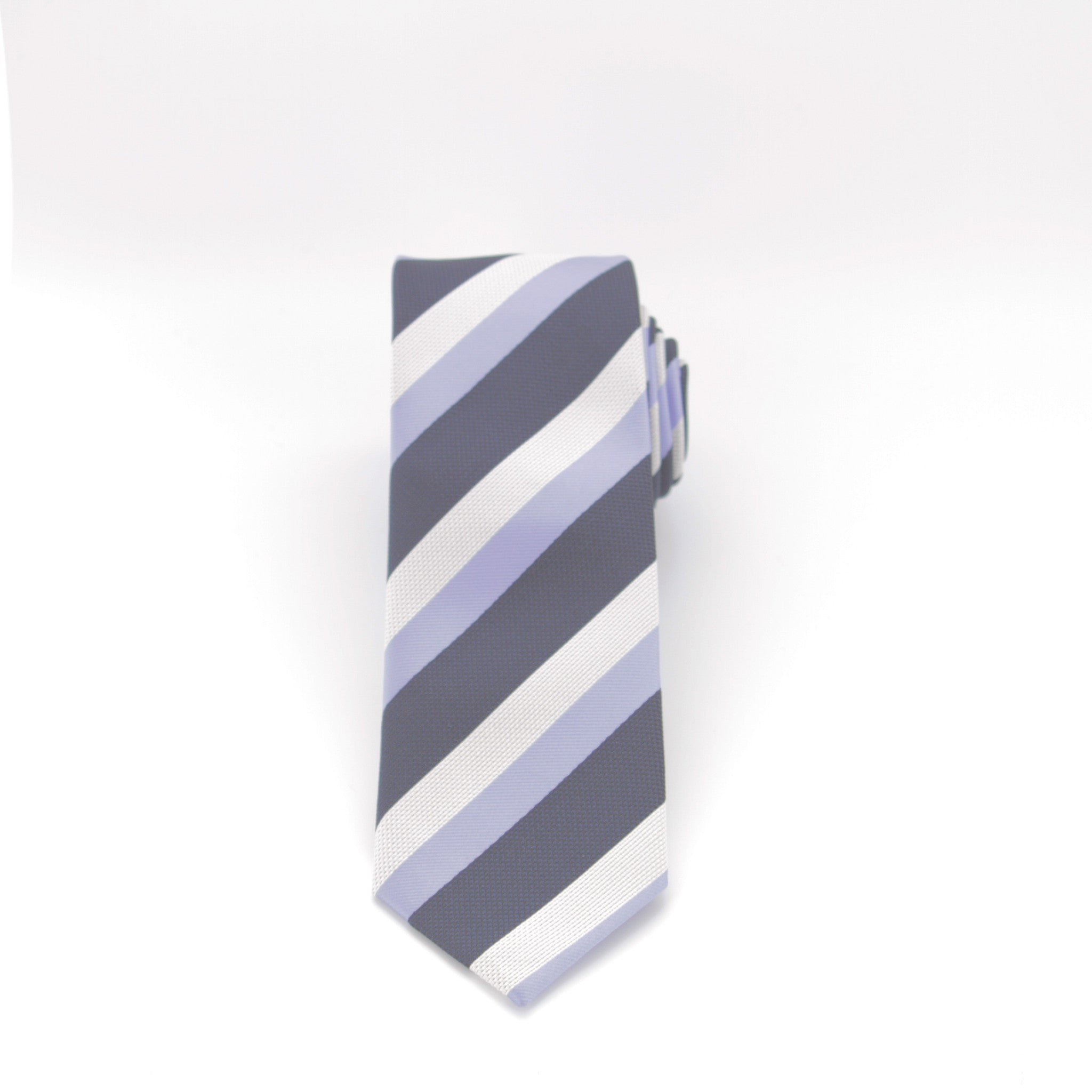 Blue and White Striped Long Tie