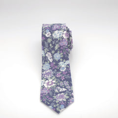 Blue and Purple Floral Tie