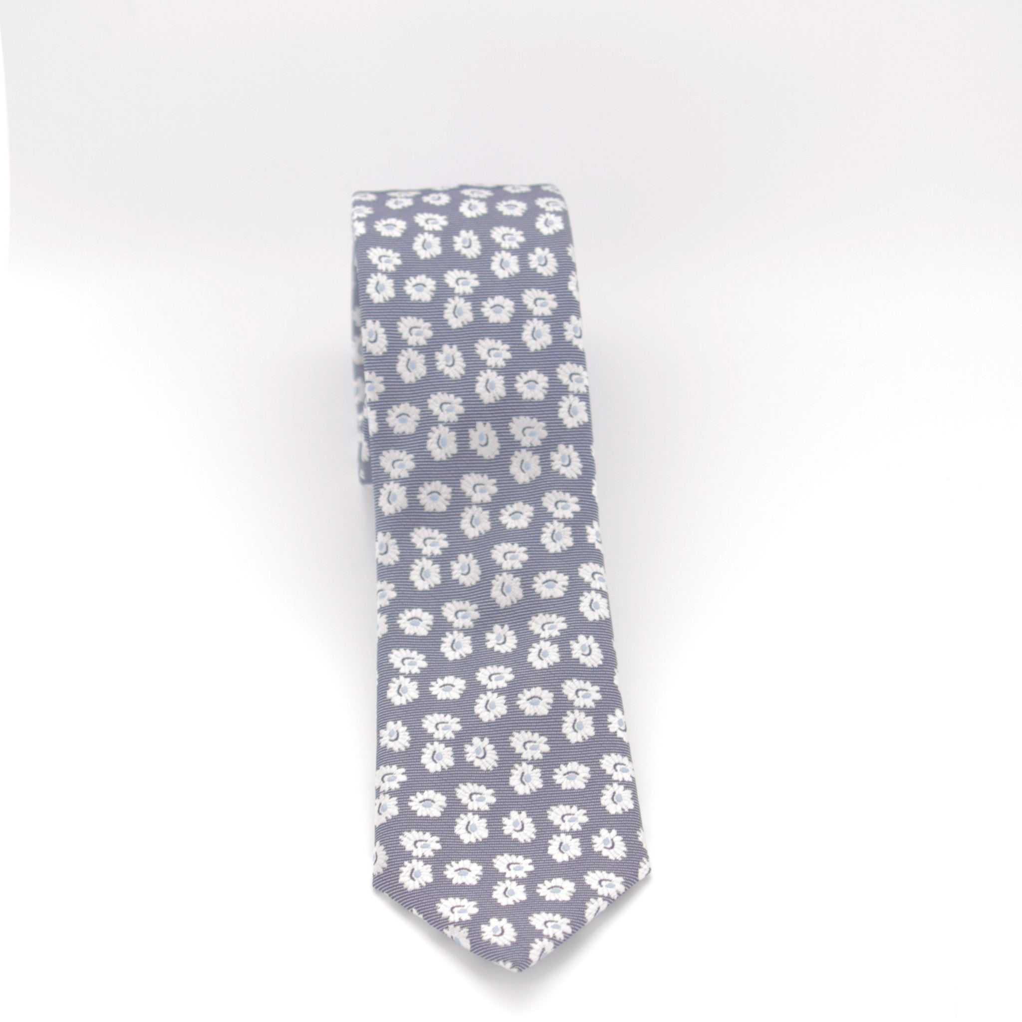 Blue with White Flowers Long Tie
