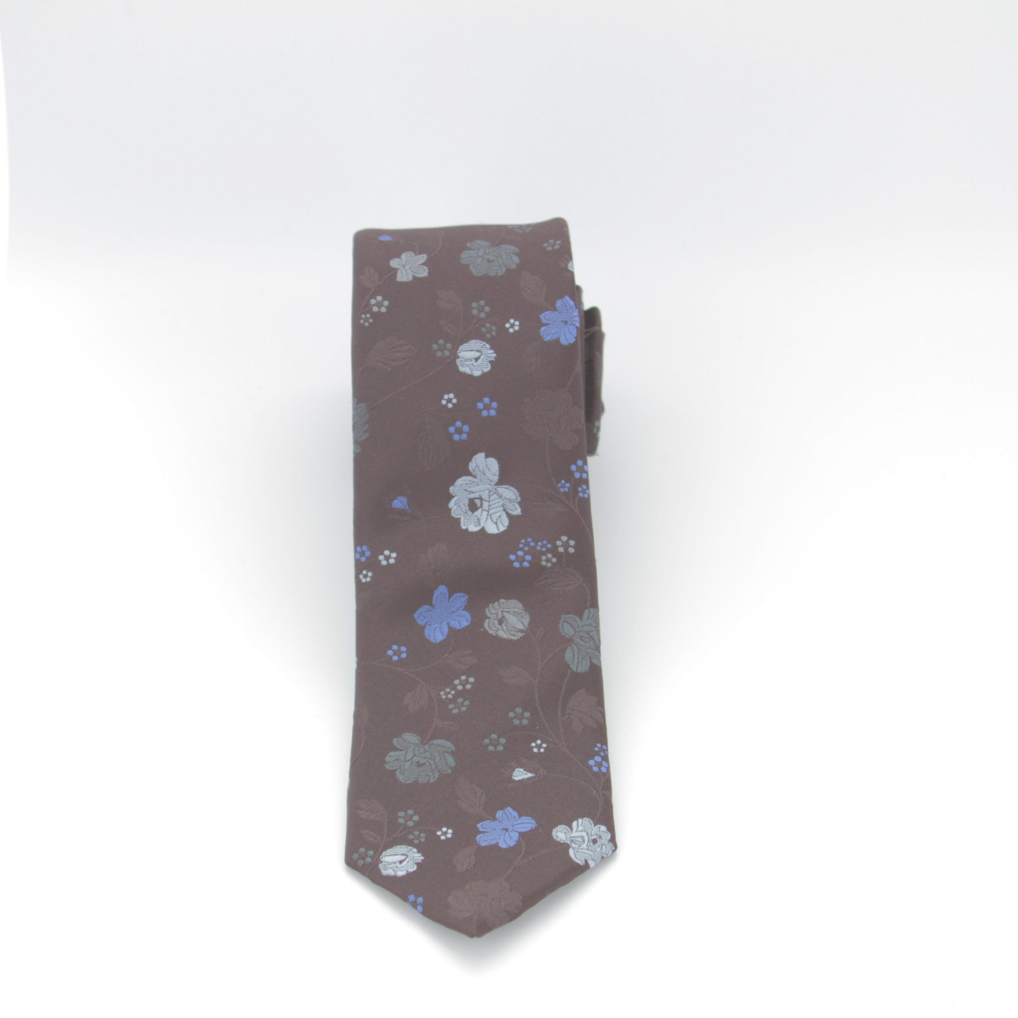 Brown with Blue Floral Print Long Tie