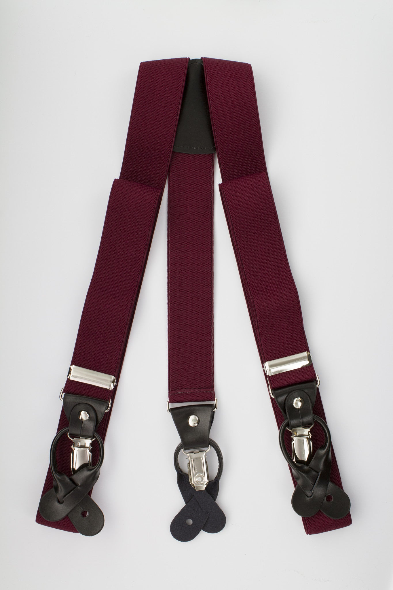 Burgundy Button and Clip Suspenders