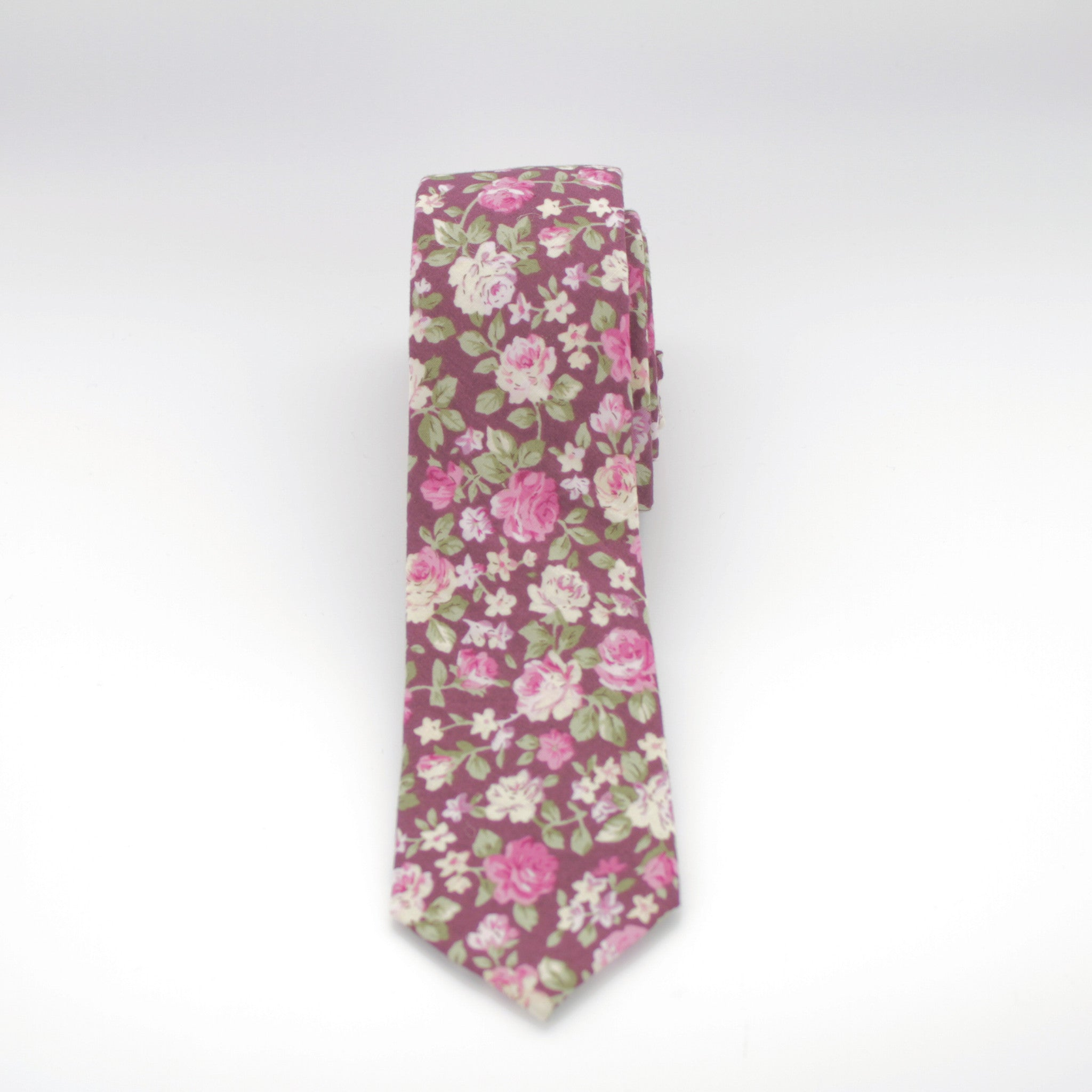 Burgundy and Pink Floral Tie