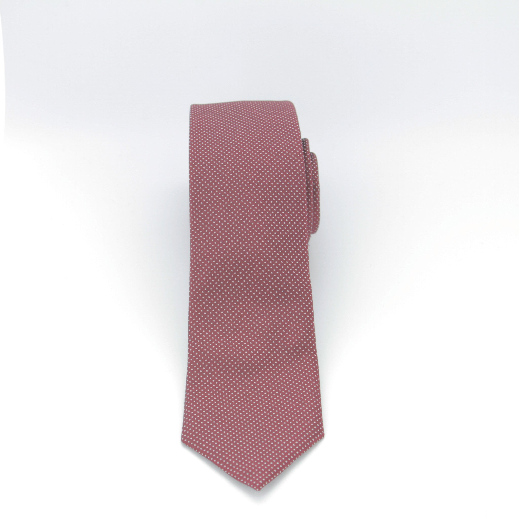 Burgundy with White Dots Long Tie