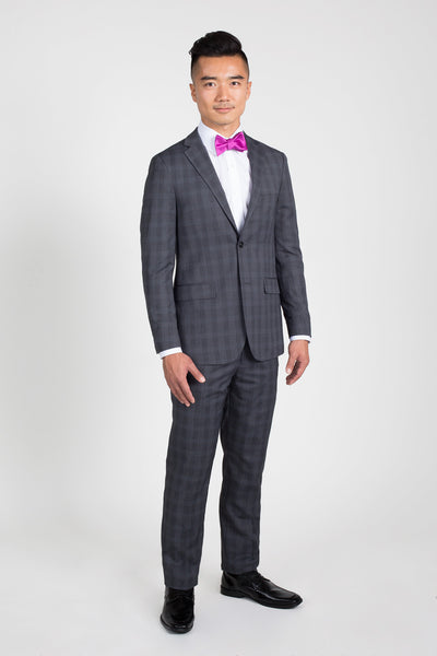 Charcoal Grey Plaid Slim Fit Suit (Seasonal Collection)