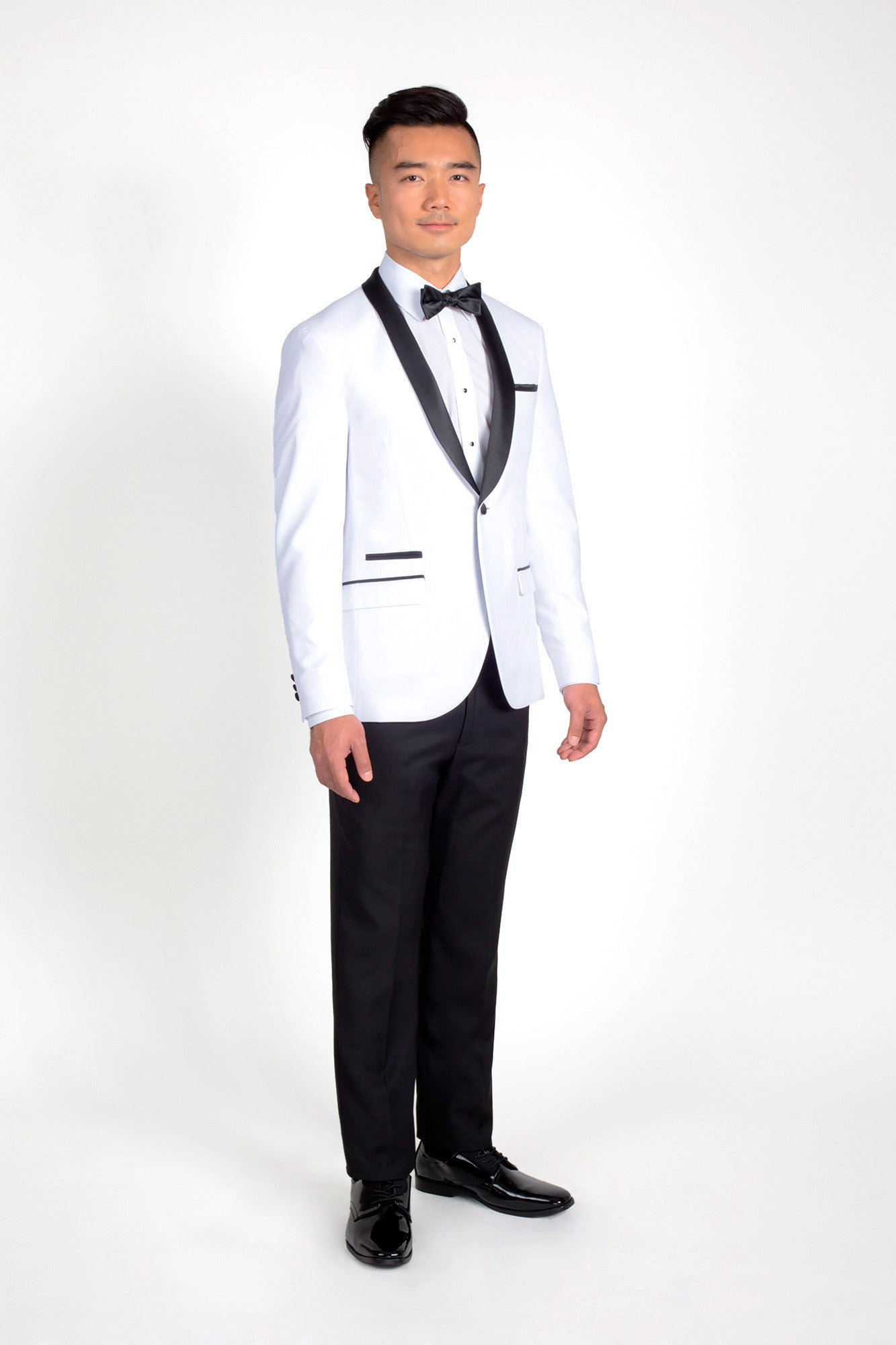 White slim fit tuxedo with black shawl friar tux shop for Black tuxedo shirt slim fit