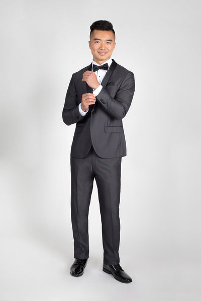 Charcoal Slim Fit Tuxedo with Black Shawl Lapel