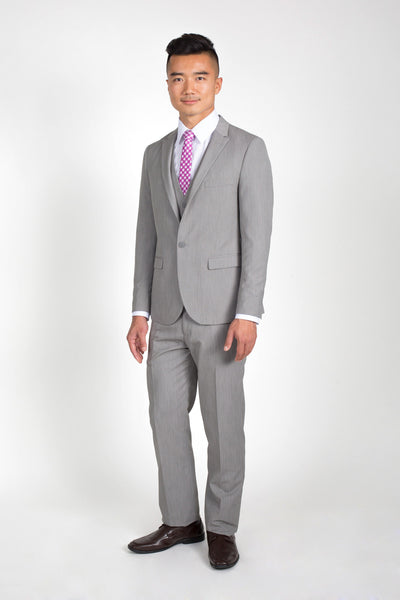 Heathered Grey Slim Fit Suit with Vest (Seasonal Collection)