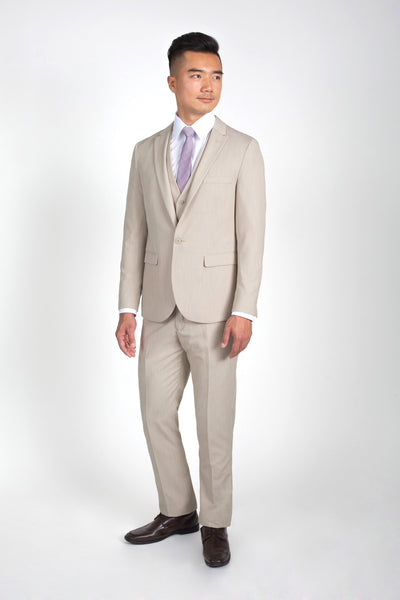 Heathered Tan Slim Fit Suit with Vest (Seasonal Collection)