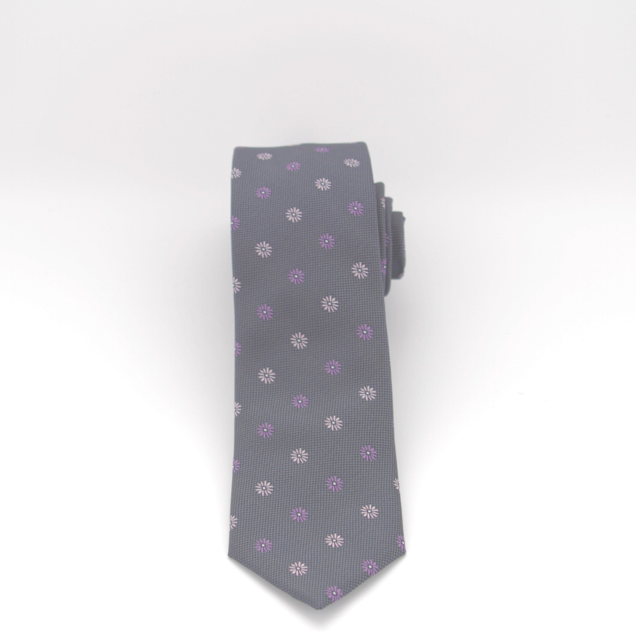 Charcoal with Purple Flowers Long Tie