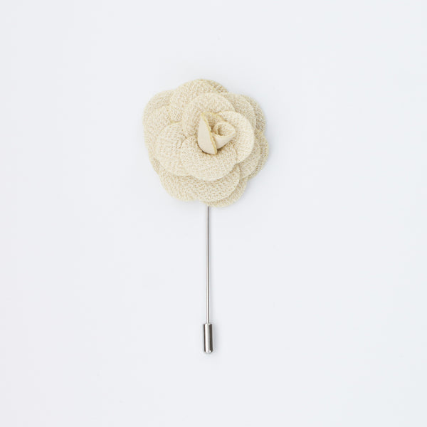 Cream Rosette Lapel Pin