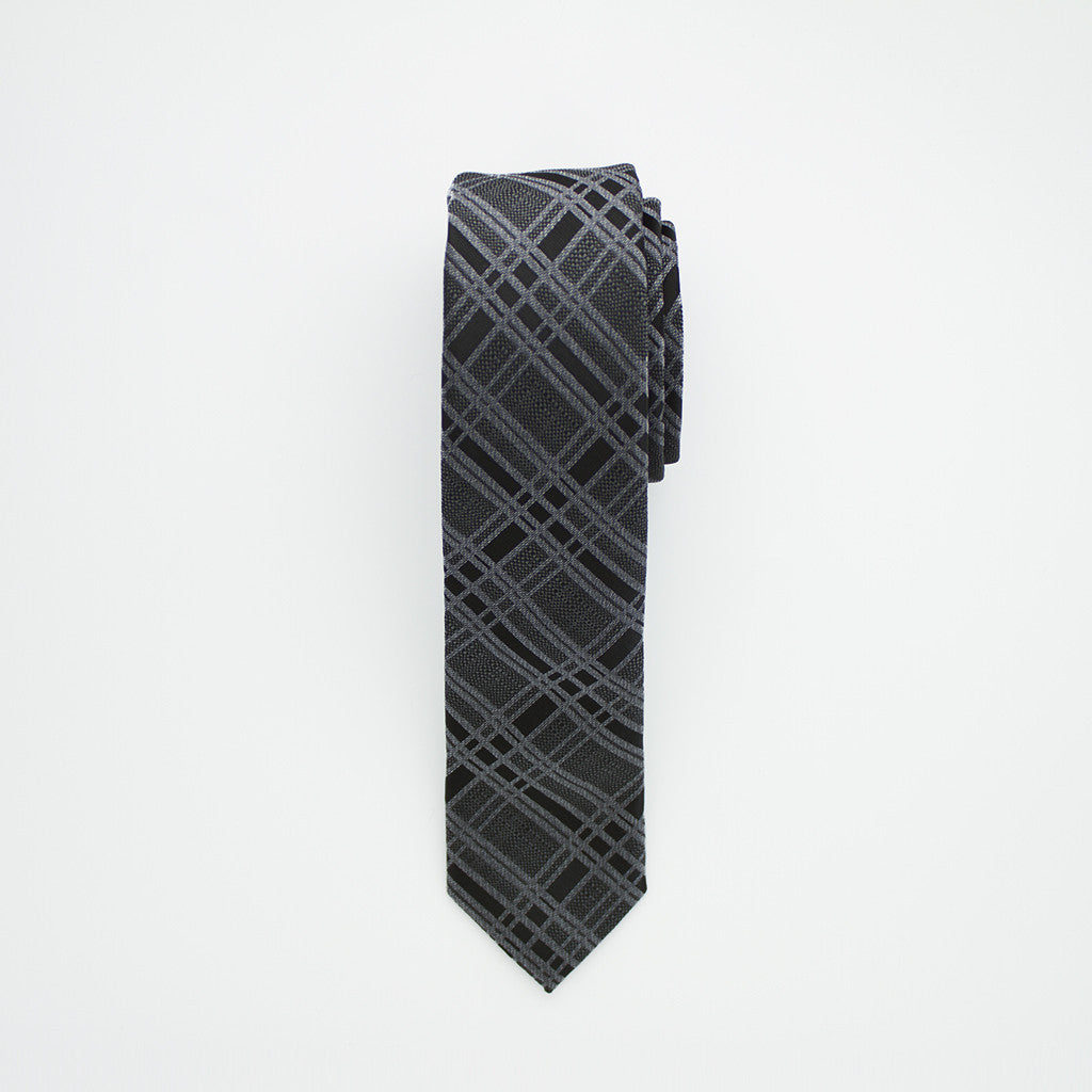Charcoal Black Plaid Long Tie