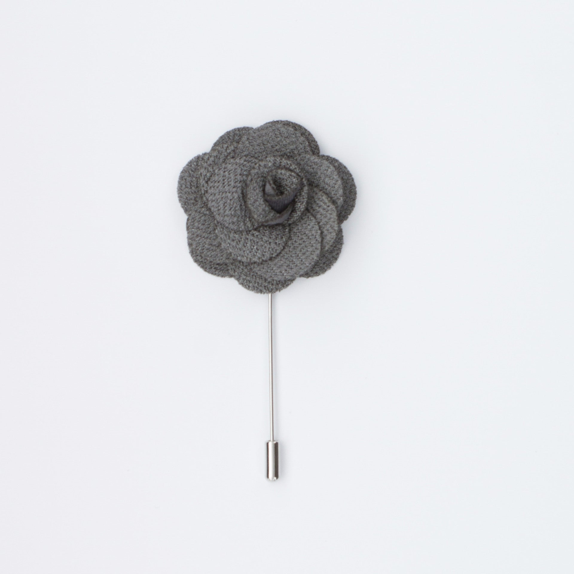 Grey Rosette Lapel Pin