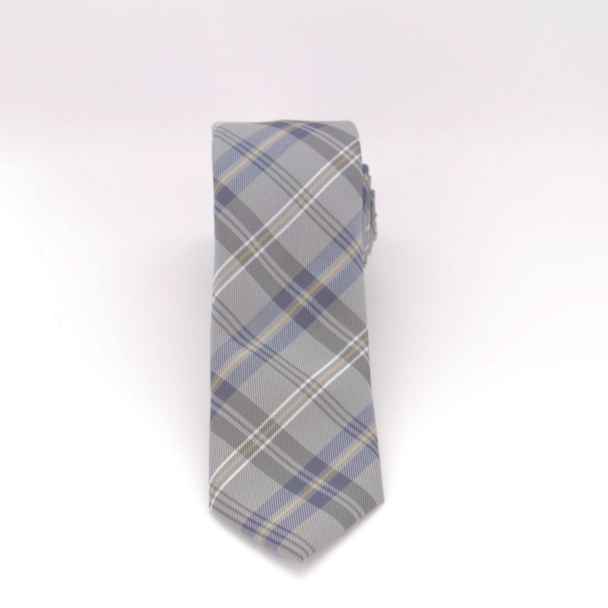 Grey and Blue Plaid Long Tie