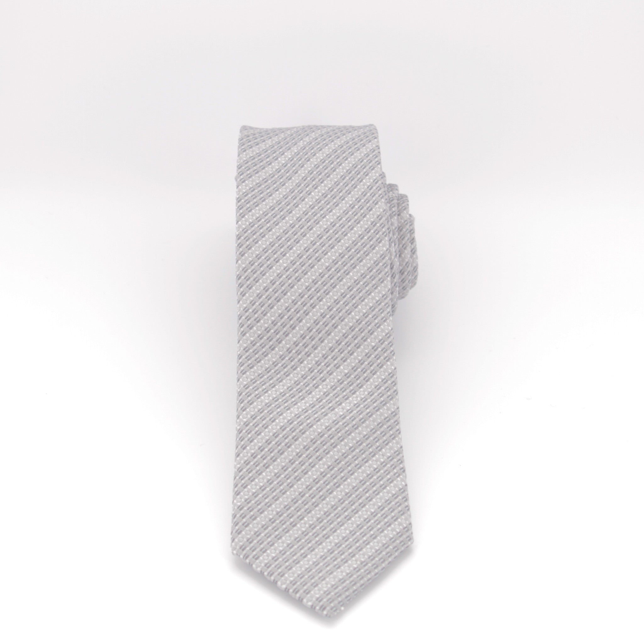 Grey Knit Striped Long Tie