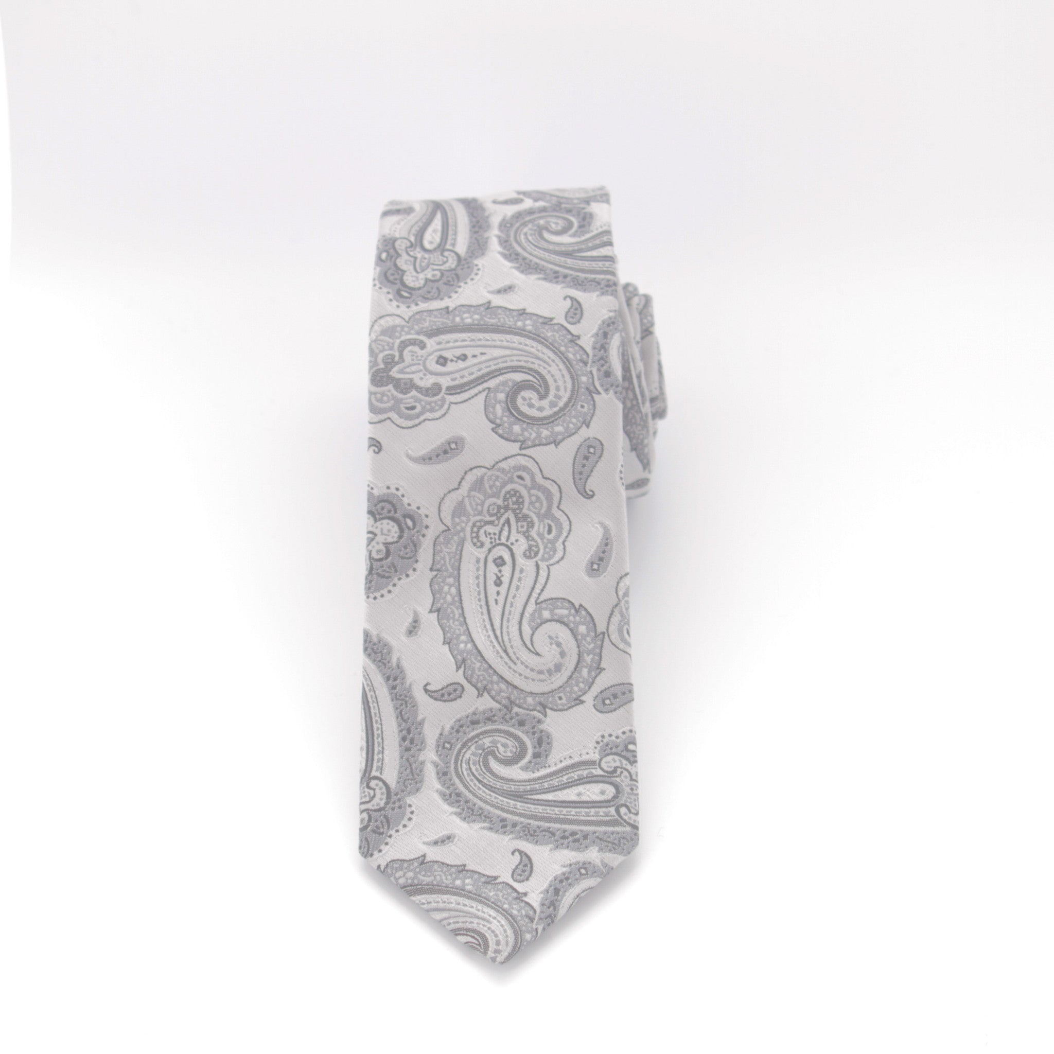 Grey and Silver Paisley Long Tie