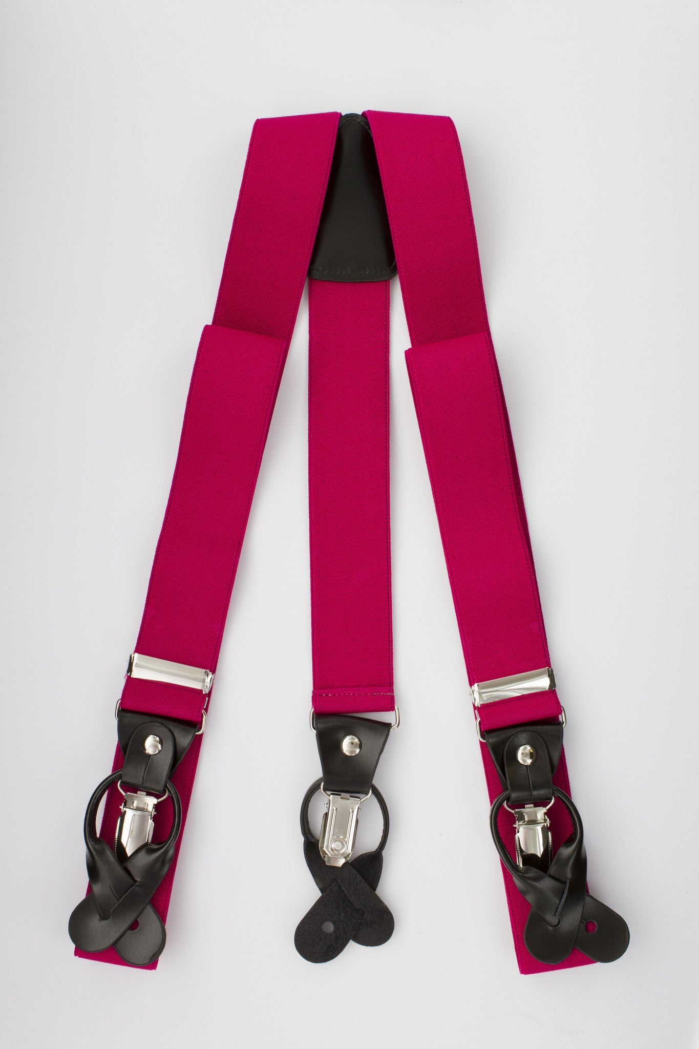 Hot Pink Button and Clip Suspenders