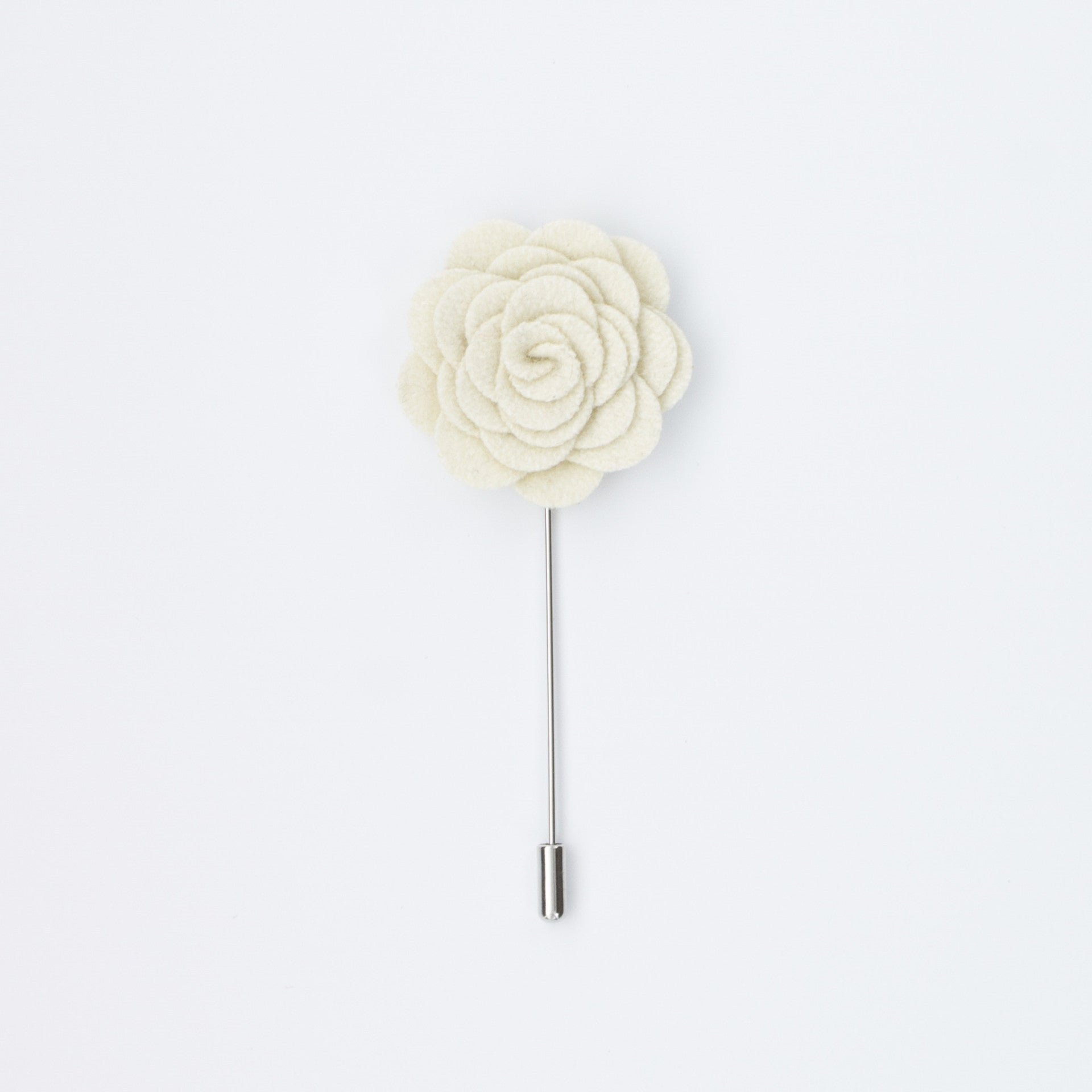 White Rosette Lapel Pin