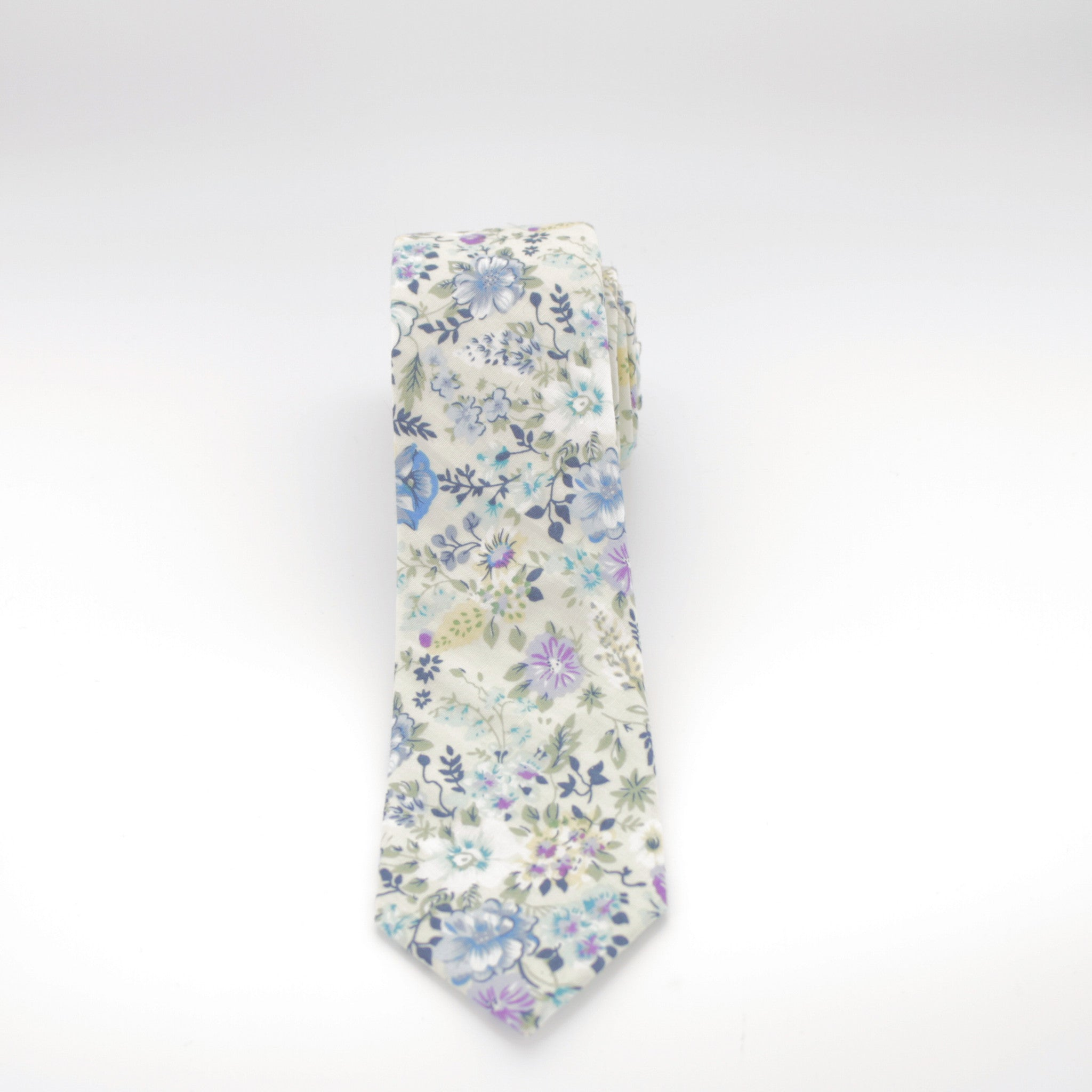 Ivory and Blue Floral Tie