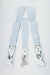 Light Blue Button and Clip Suspenders