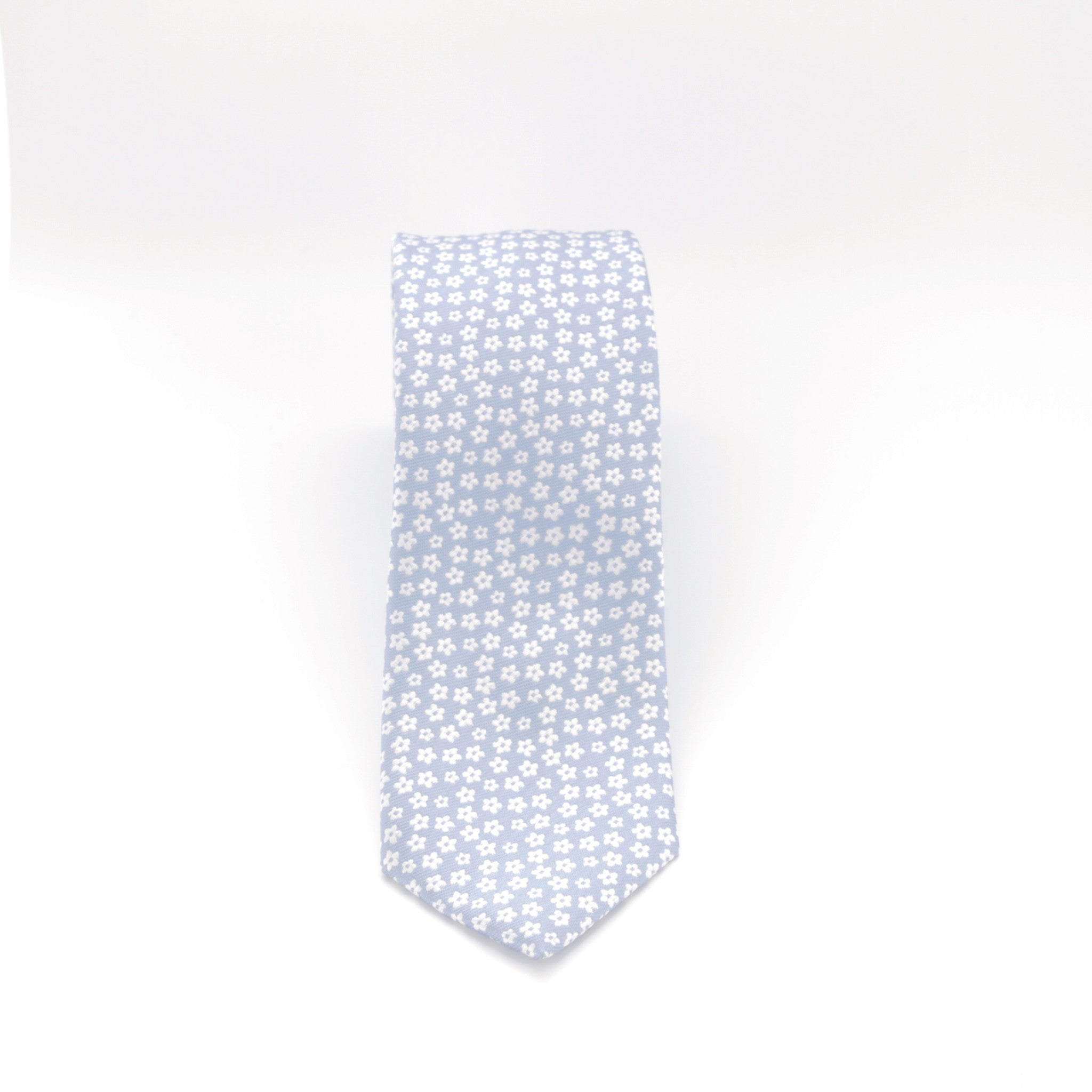 Light Blue with White Flowers Long Tie
