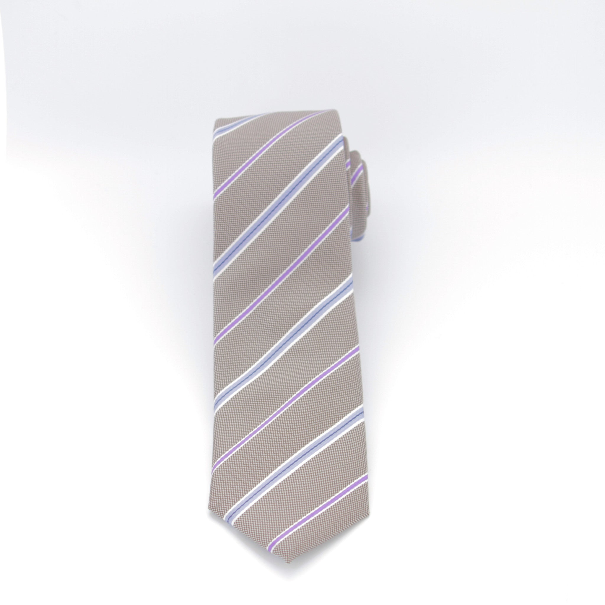 Mocha, Blue and Pink Striped Long Tie
