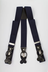 Navy Button and Clip Suspenders