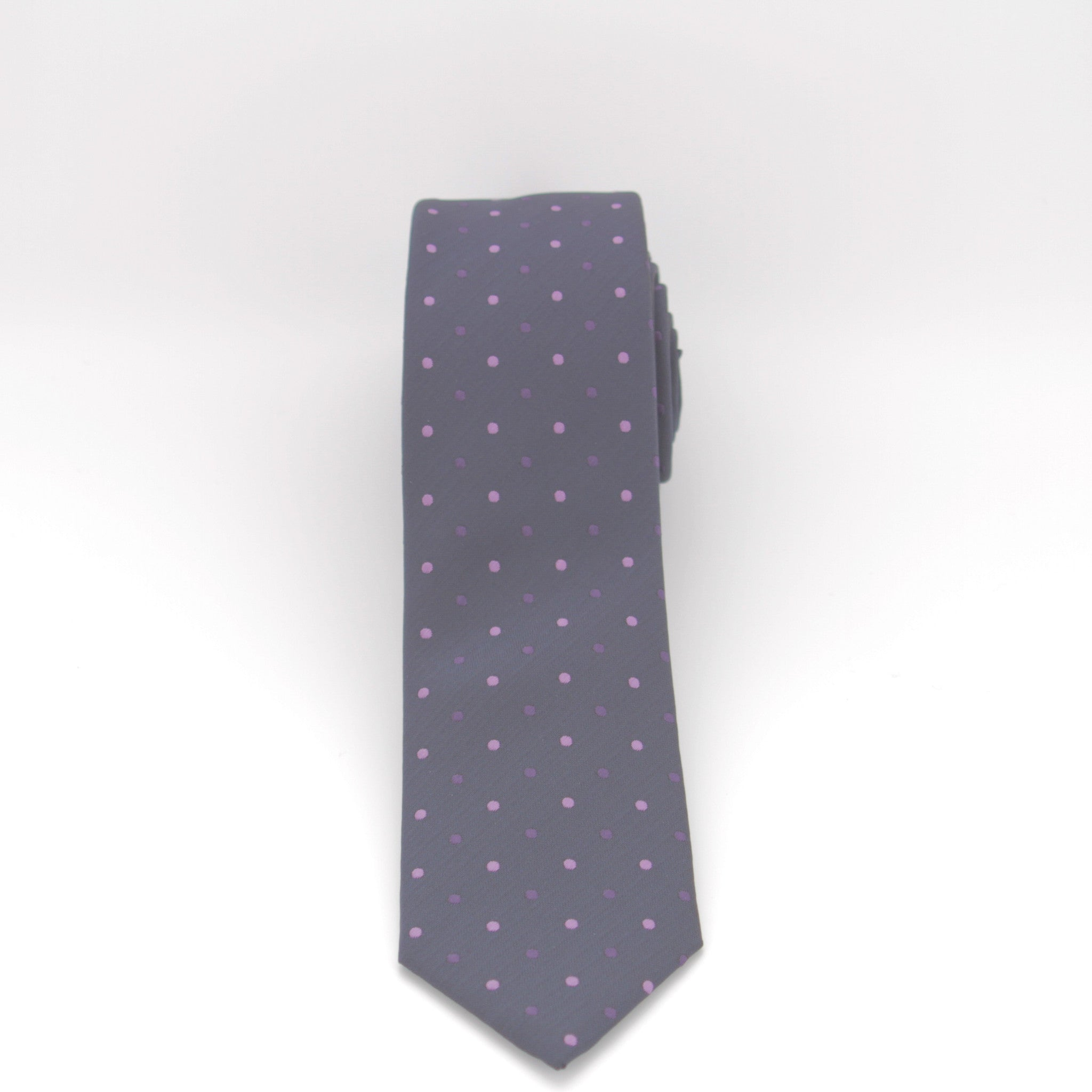Navy With Purple Dots Long Tie
