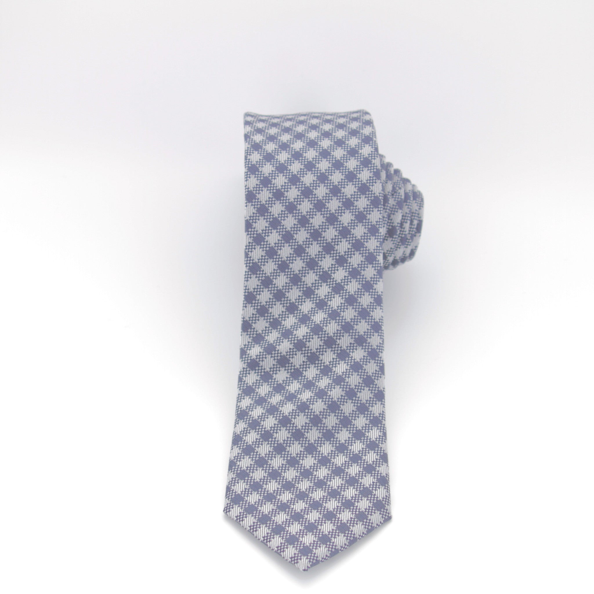 Navy and White Checkered Long Tie