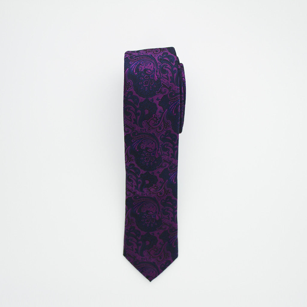 Purple and Navy Paisley Long Tie