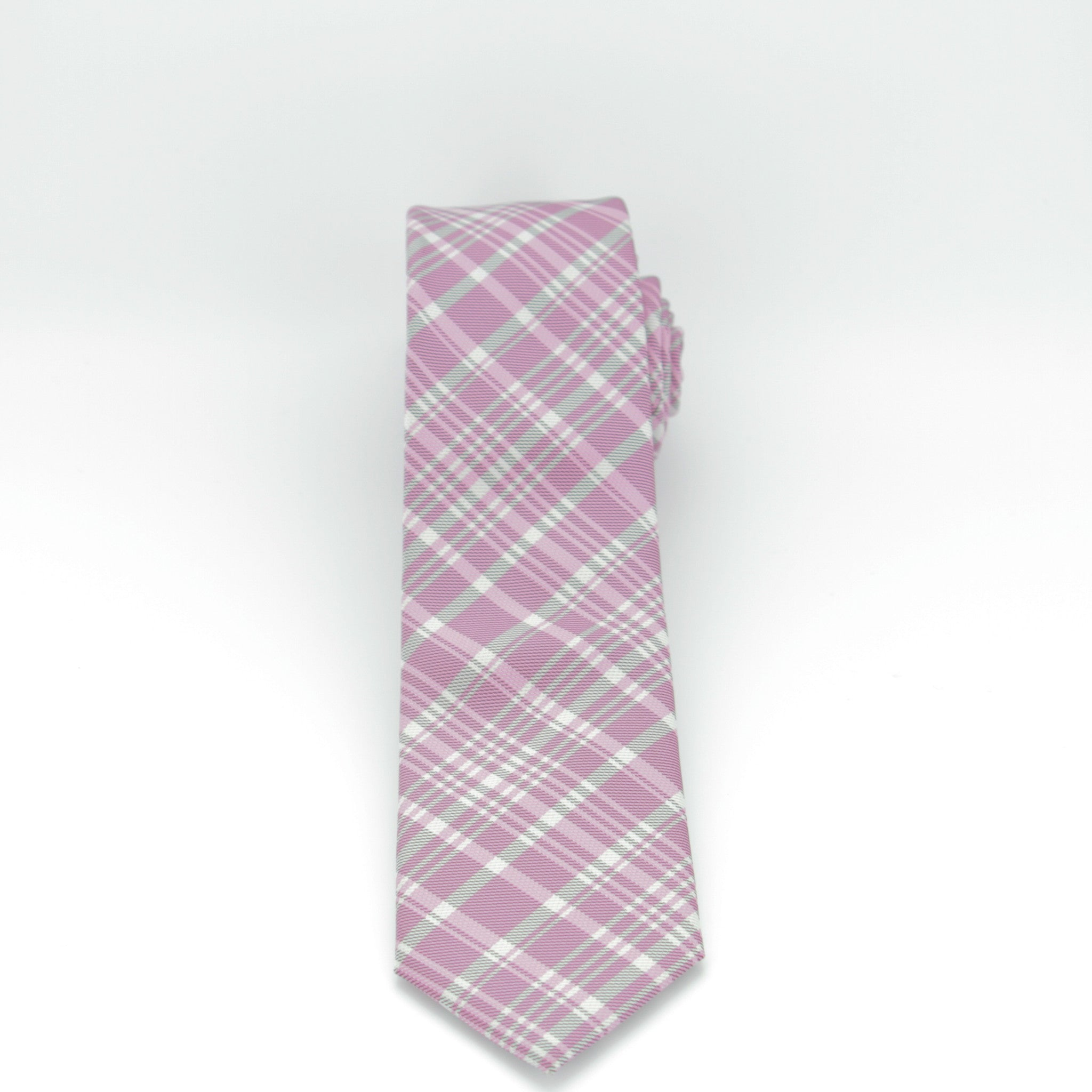 Pink and Grey Plaid Long Tie
