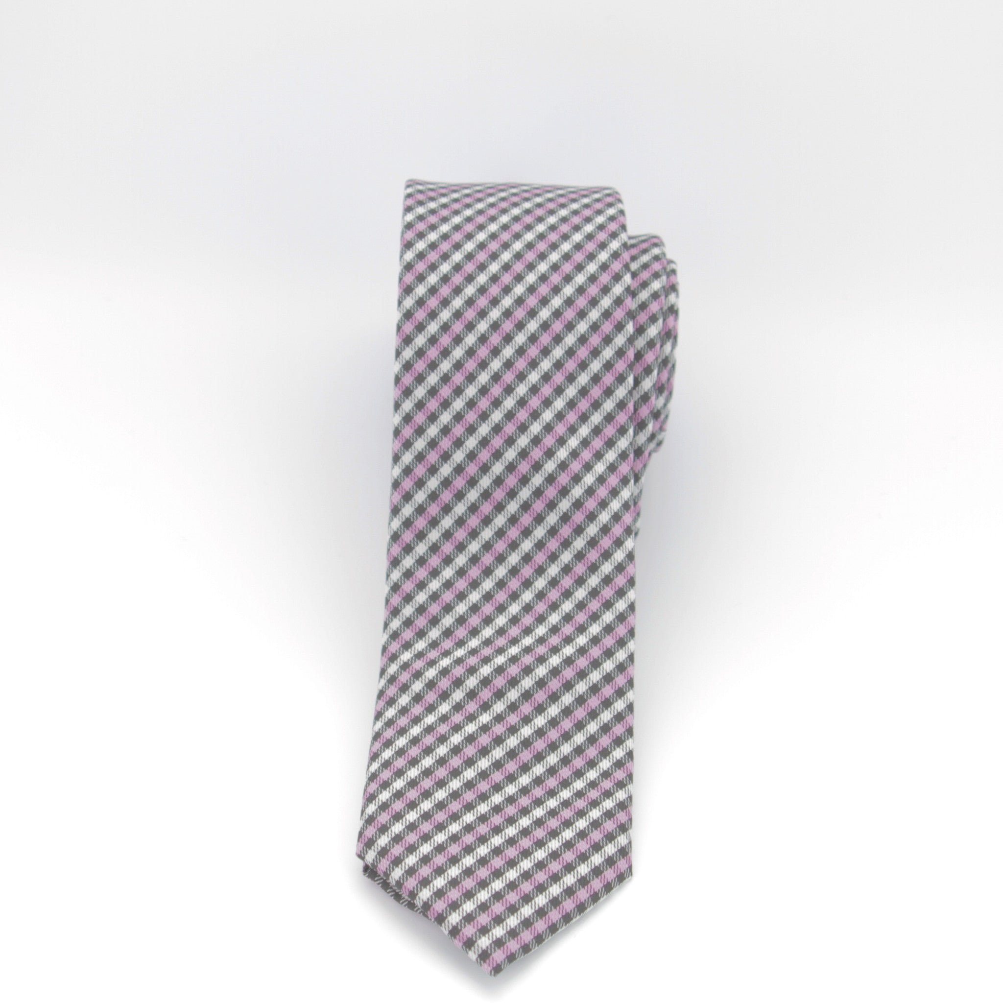 Pink, Black and White Checkered Long Tie