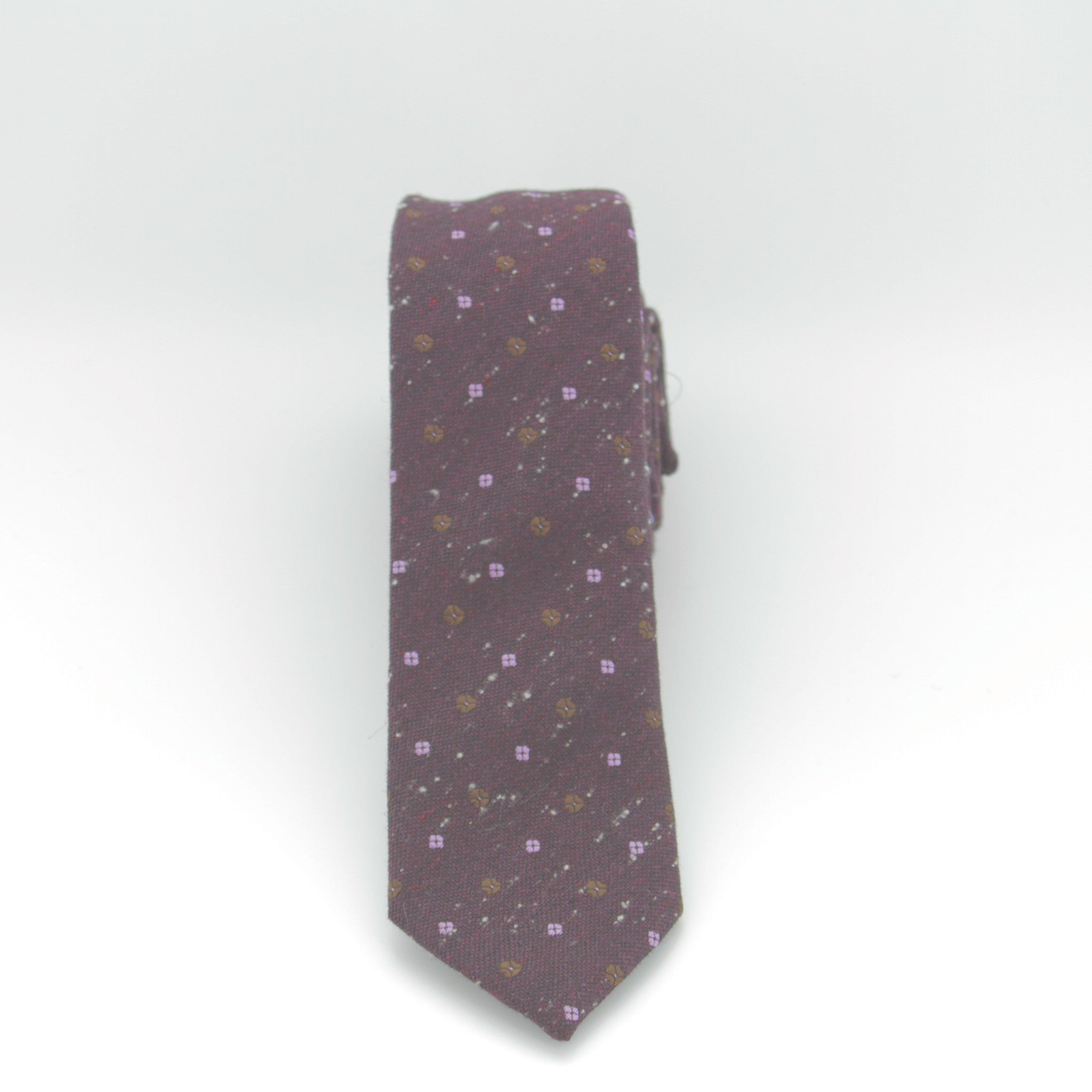 Plum with Flower Dot Long Tie