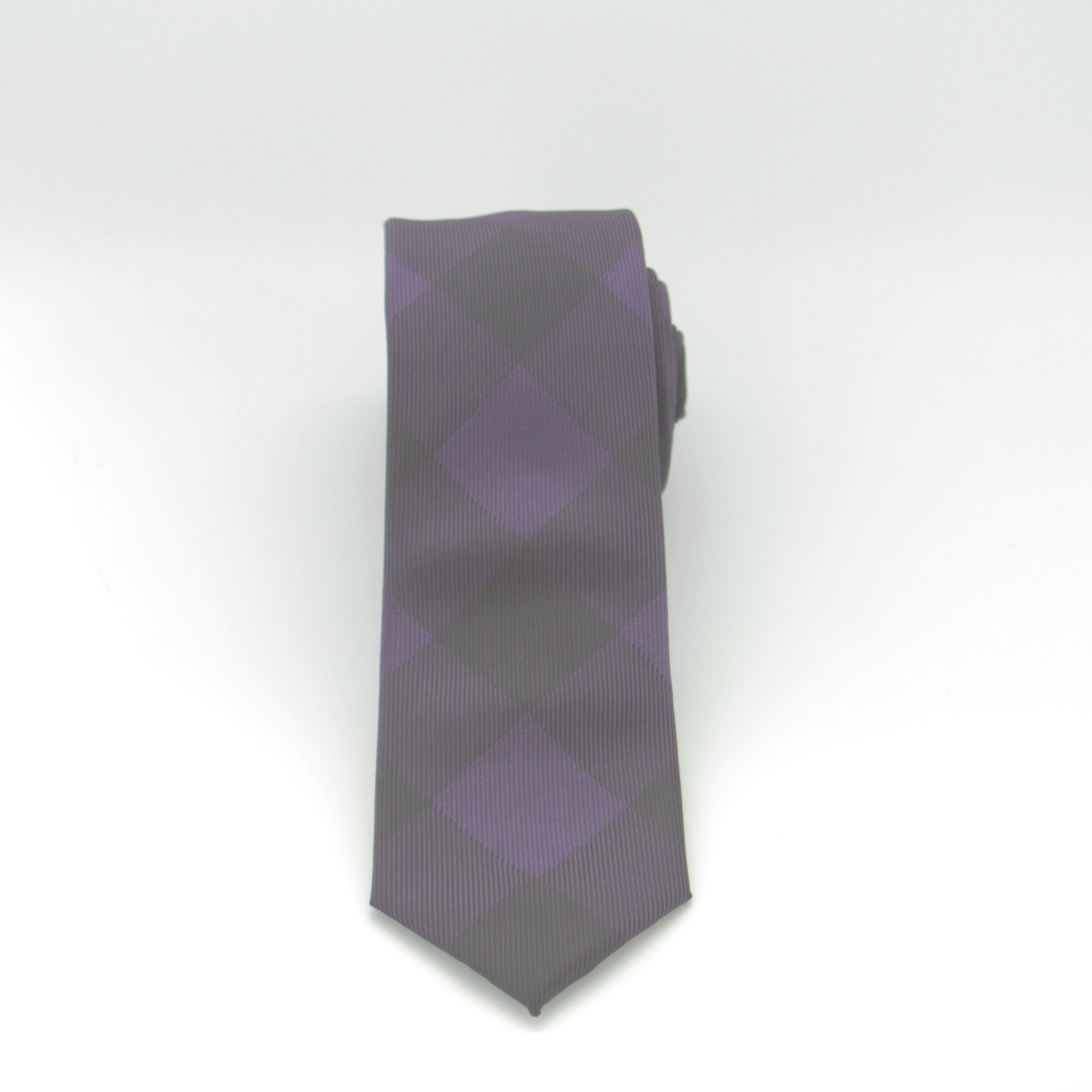 Purple and Black Large Checker Long Tie