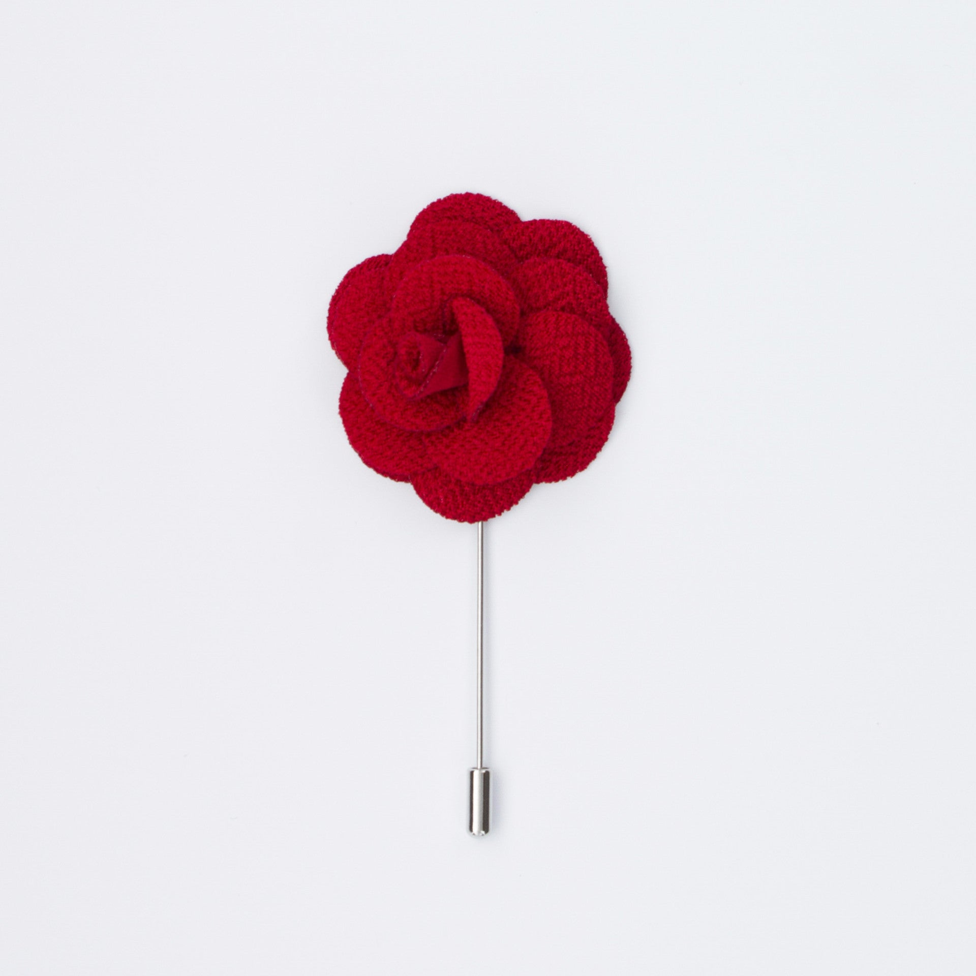 Red Rosette Lapel Pin