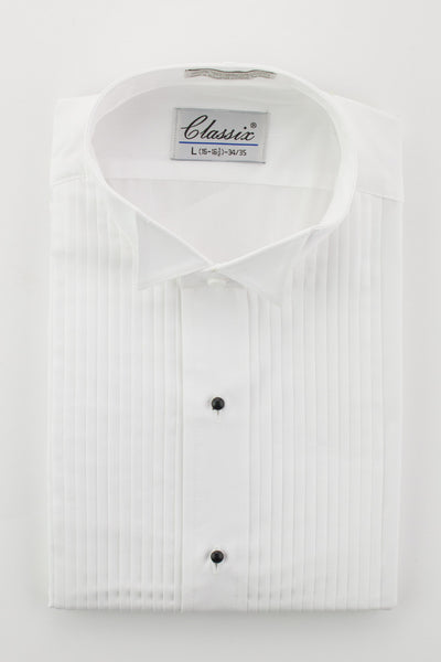 "Men's White Wing Collar Shirt with 1/4"" Pleats"