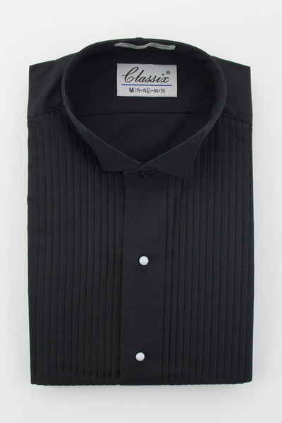 "Men's Black Wing Collar Shirt with 1/4"" Pleats"