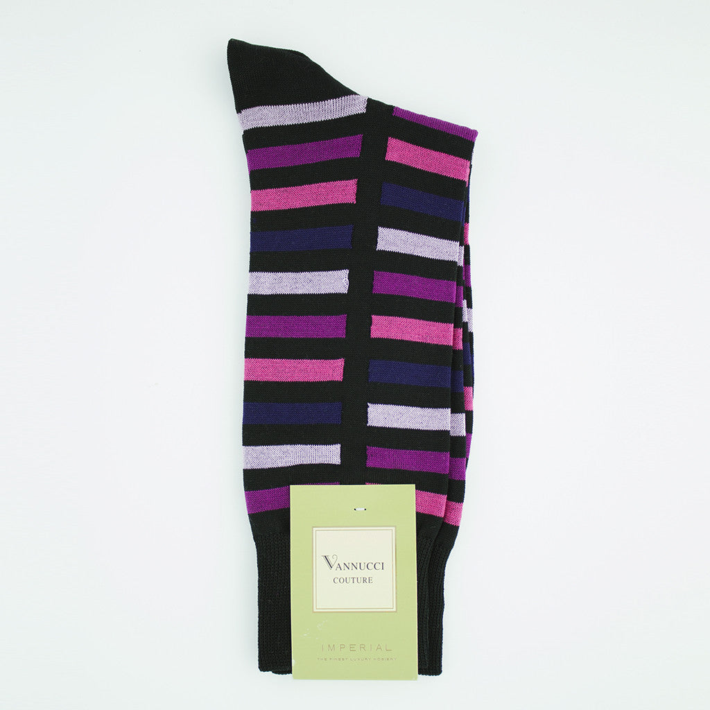 Black with Purple and Pink Striped Socks