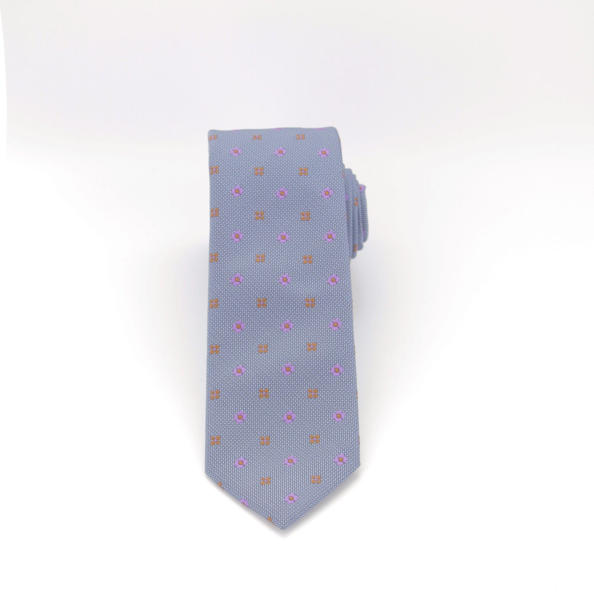 Slate Blue with Floral Dot Long Tie