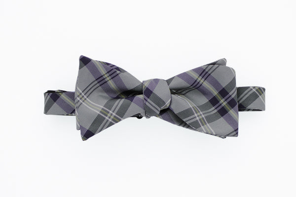 Grey and Black Plaid Bow Tie
