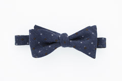 Blue with Brown and White Flowers Bow Tie
