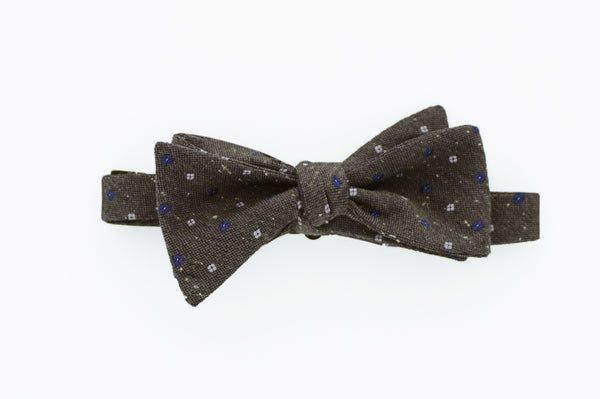 Grey with Blue and White Flowers Bow Tie