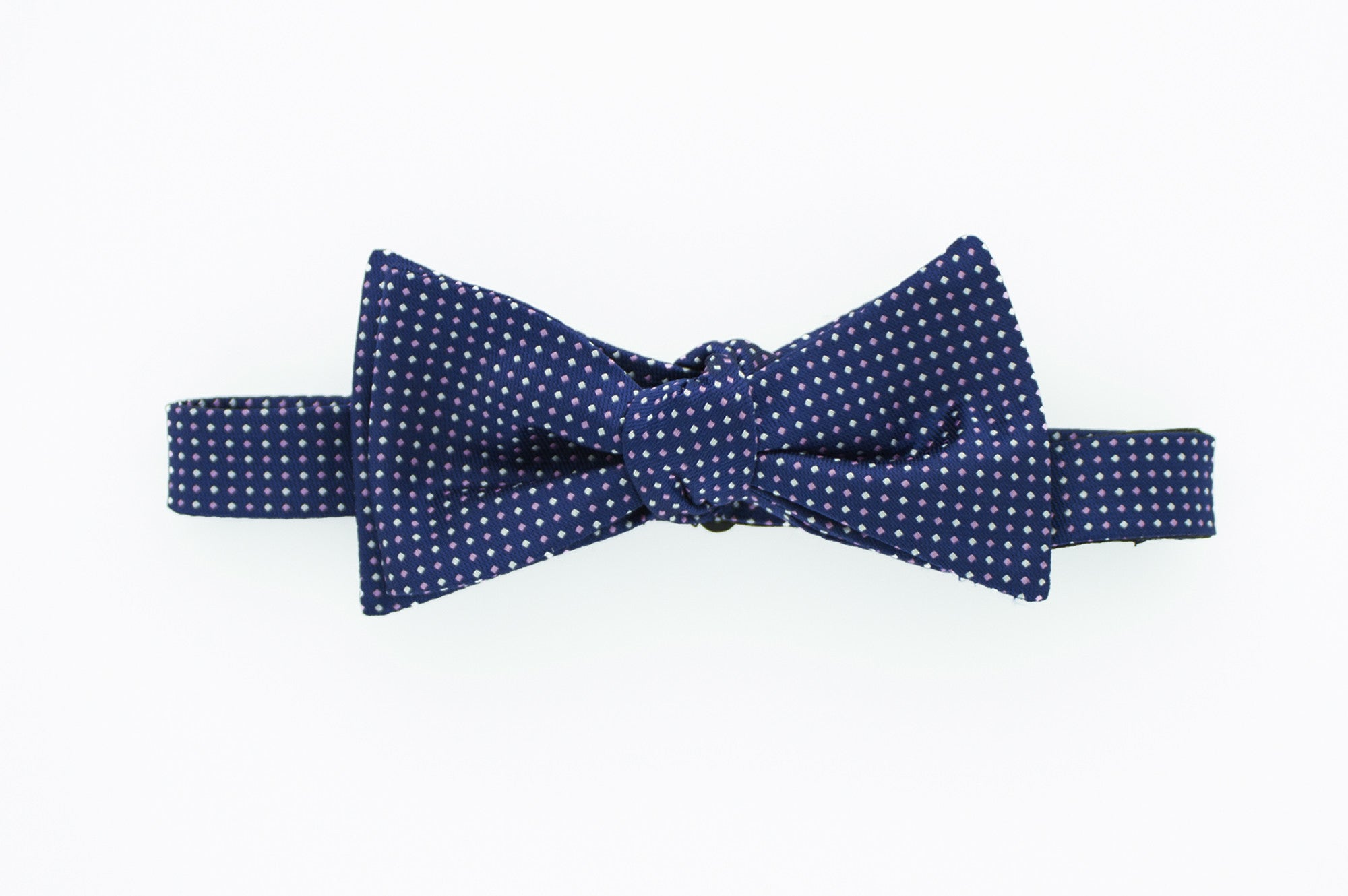 Navy with Pink Dot Bow Tie