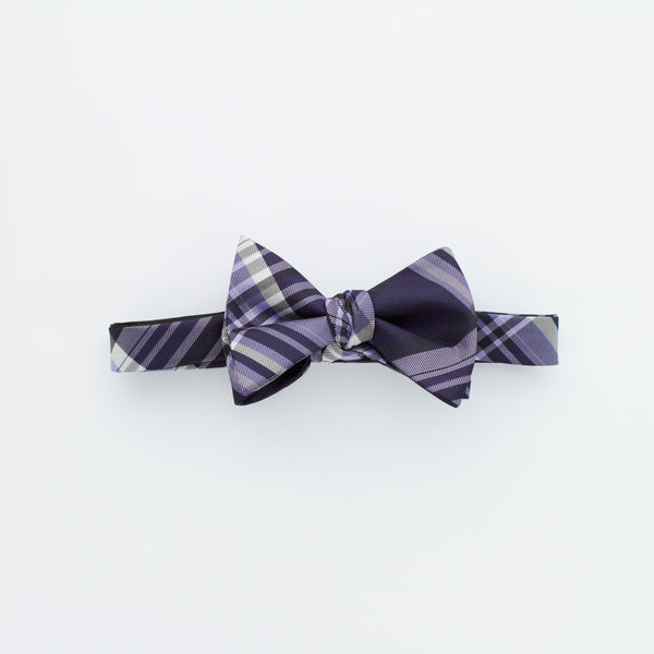 Purple Plaid Self-Tie Bow Tie