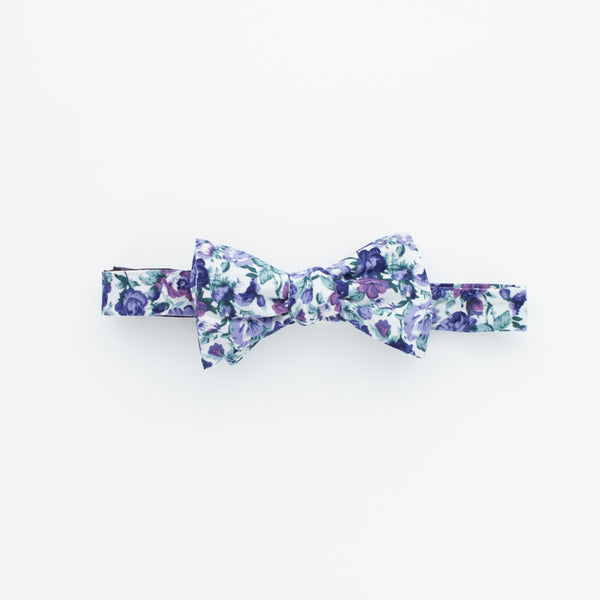 White, Blue and Purple Floral Bow Tie