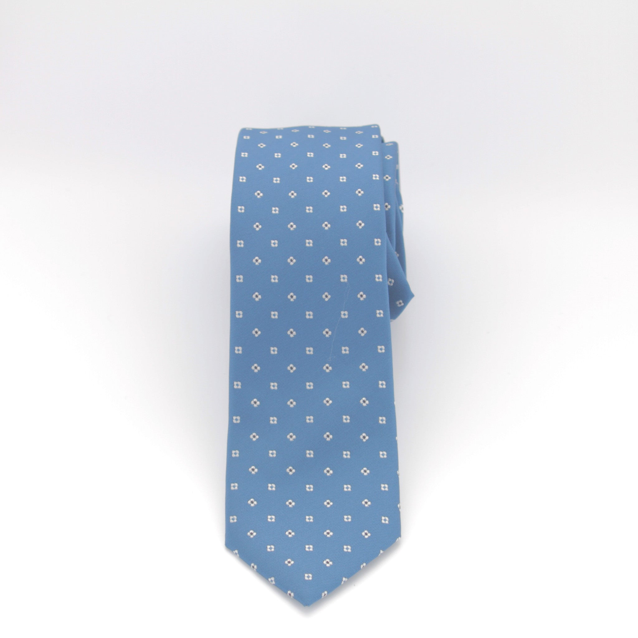 Teal Long Tie with White Dots