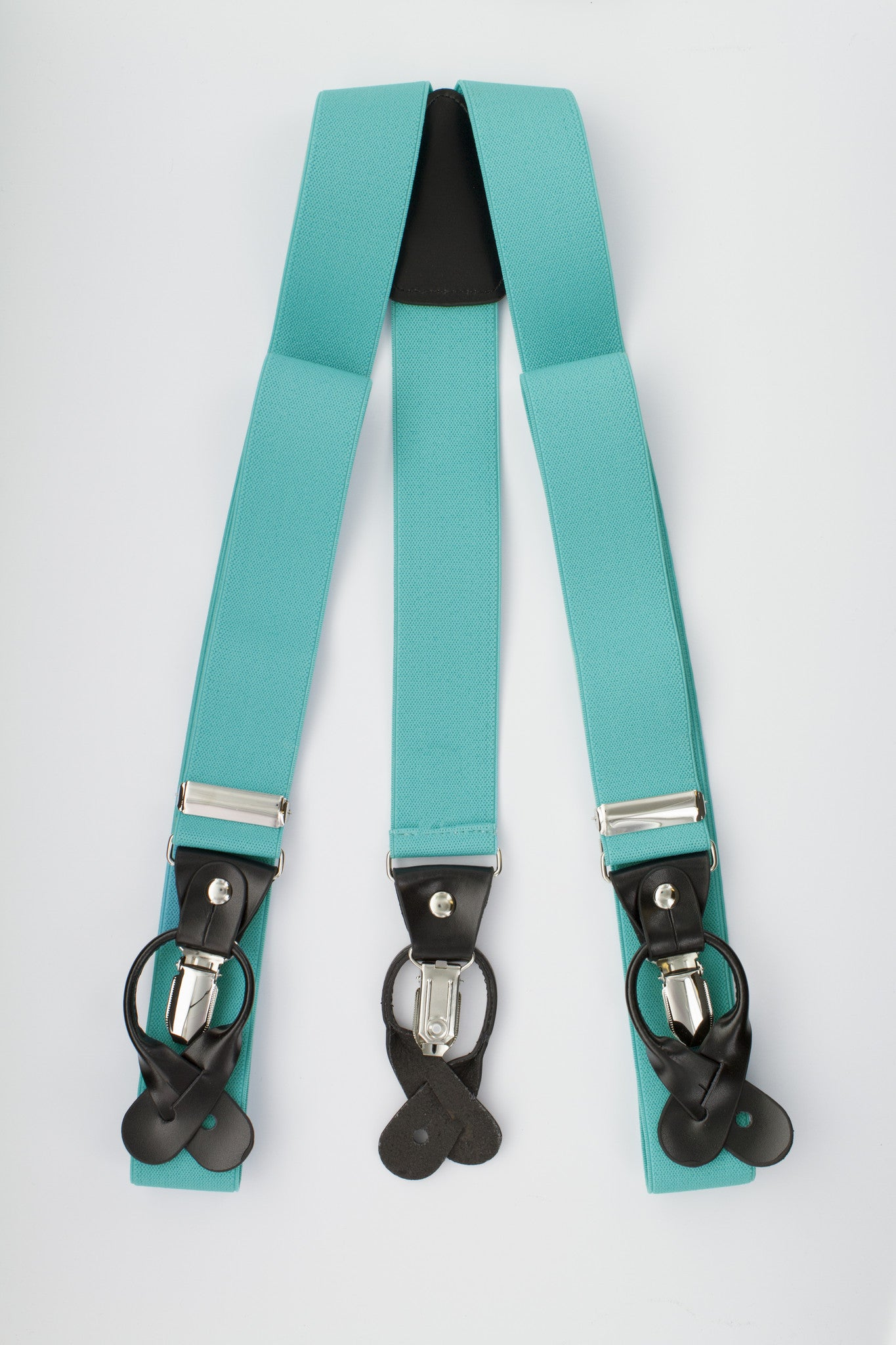 Turquoise Button and Clip Suspenders