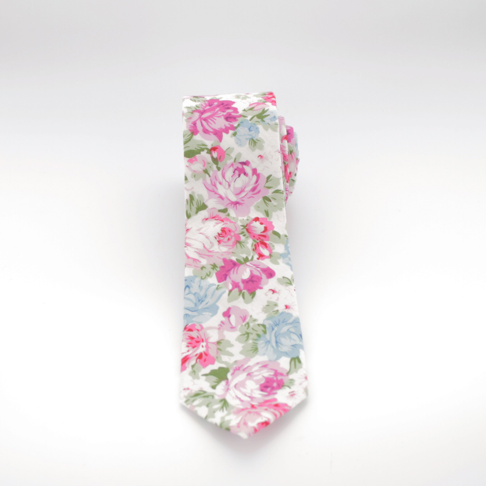 White And Multi Colored Flower Print Tie