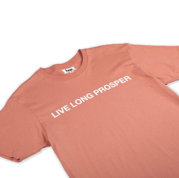 LIVE LONG 2 S/S TEE (DUSTY ROSE/WHITE)
